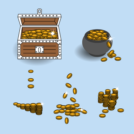 scattering: Vector illustration gold coins placed into treasure chest, treasure pot and used separately in different forms like coins rouleau or in process of scattering