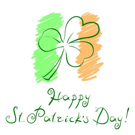 17th march: Vector illustration outline clover leaf over styled Irish flag and handwritten slogan Happy St Patricks Day