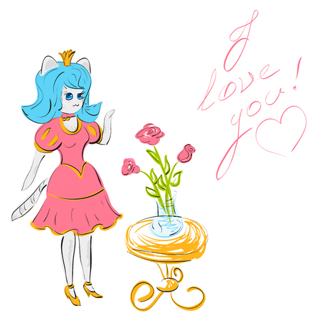 Vector illustration cute cartoon teen cat princess near table with bouquet of roses and handwritten text I love you with drawn heart 일러스트