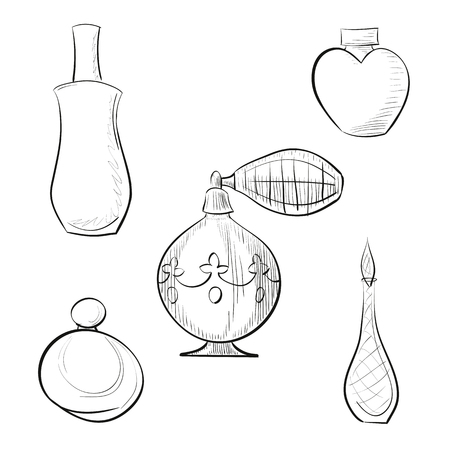 pulverizer: Vector illustration perfume sprayer and four different perfume bottles hand drawn outline set with hatching against white background