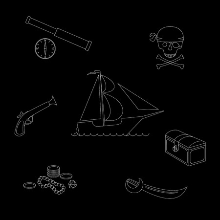 cutlass: illustration pirate theme outline figures set against black background, including pirate ship, chest, scattered treasures, cutlass, pistol, telescope, compass and skull with crossbones
