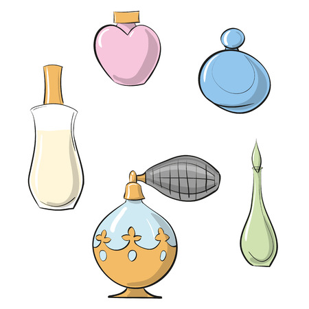 perfumer: illustration perfume sprayer and four different perfume bottles  color set against white background