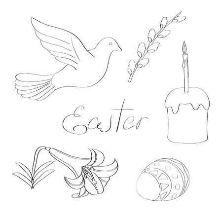 pigeon egg: illustration hand drawn line art Easter design elements set including pigeon, willow branch, Easter lily, painted egg, Easter cake with candle and handwritten word Easter Illustration
