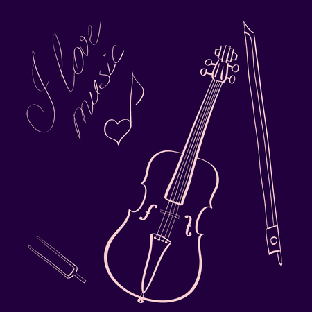 tuning fork: illustration hand drawn outline violin with bow and tuning fork and handwritten title I love music with music note looking like heart