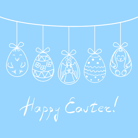 twine: illustration Easter eggs with hand drawn angel, chicken, rabbit and abstract ornaments, suspended on twine above handwritten title Happy Easter