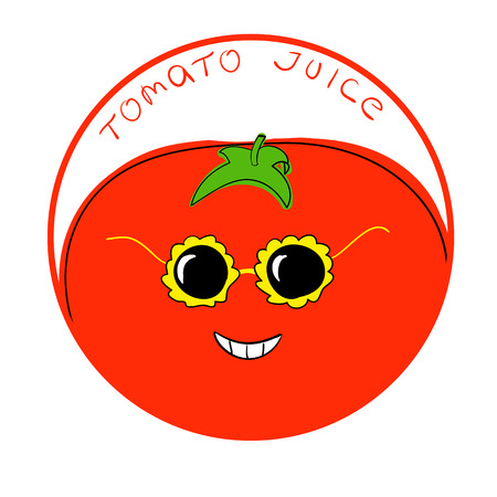 tomato juice: illustration funny tomato cartoon character in a round frame with handwritten words Tomato Juice against white background Illustration