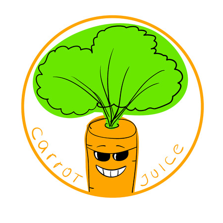 carrot juice: illustration funny carrot cartoon character in a round frame with handwritten words Carrot Juice against white background Illustration