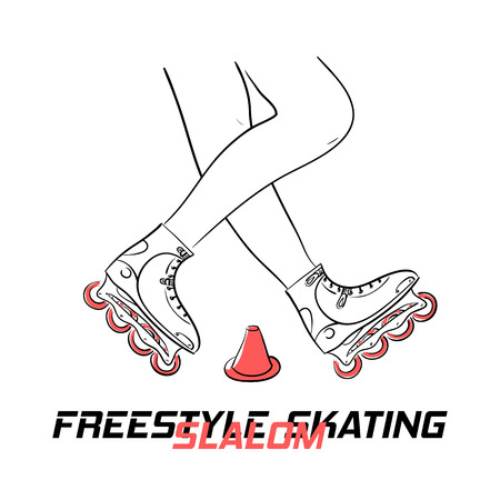 inline: Two legs of roller with put-on inline skates showing figure of freestyle slalom skating around special cone and title Freestyle Slalom Skating, hand drawn line art illustration