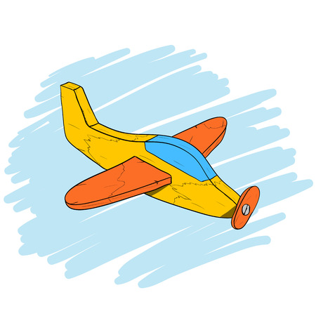 wooden toy: Handmade vintage wooden toy plane, used and scratched, isometric hand drawn illustration Illustration