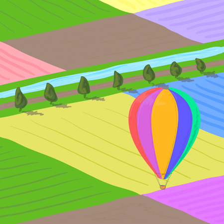 flower fields: Hot air balloon flying over multi colored flower fields landscape, high angle view, hand drawn illustration