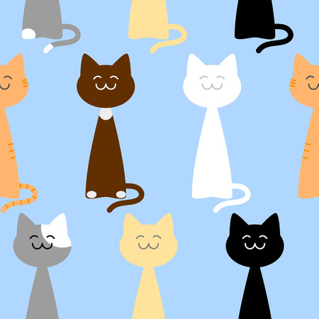 catling: Happy cute cats of different colors seamless pattern against light blue background illustration