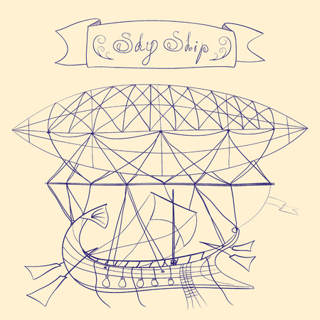 dirigible: Fantastic scheme of flying ship with dirigible, sail, side rudders, and title banner with words Sky Ship, hand drawn line art illustration