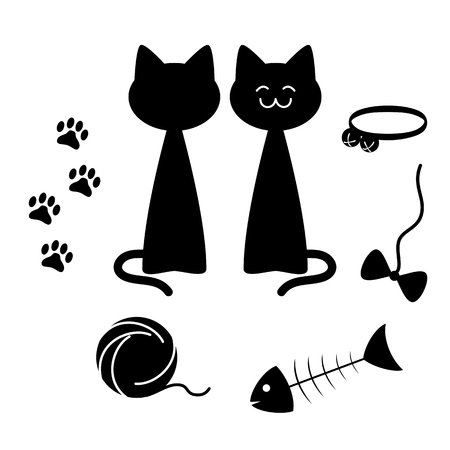 catling: Cats theme silhouette elements set, illustration, all white areas are cut off Illustration