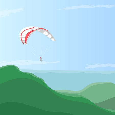 green hills: Sky diver flying on a paraglider in the blue sky over green hills, illustration with place for text Illustration
