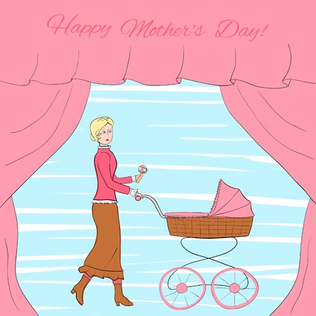 portiere: Young blonde woman in vintage clothes walks with a retro style stroller, frame decorated with curtains illustration