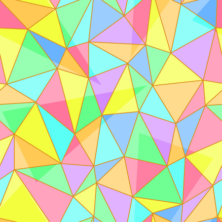 stained glass panel: Abstract seamless pattern of stained glass window panel with multicolored random triangle shapes Illustration