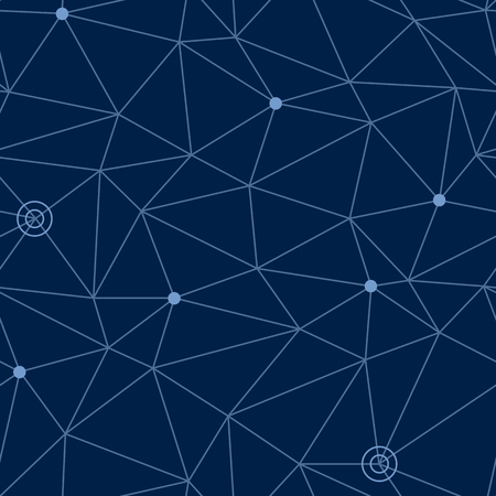 waypoint: Abstract seamless pattern of cosmic space with styled net of paths and stars or way points at some nodes