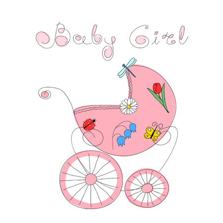 baby girl arrival: Baby girl arrival card with hand drawn retro styled baby carriage decorated with nature elements and handwritten words Baby Girl Illustration