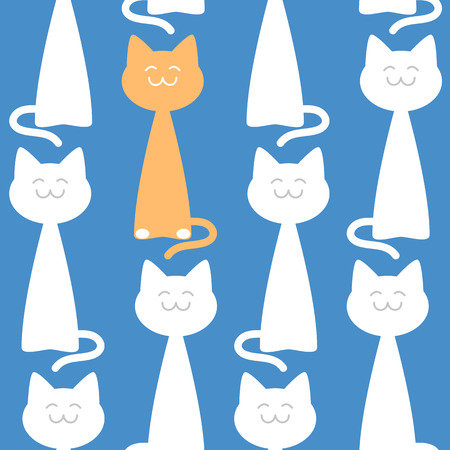 puss: Happy elegant cats seamless pattern against blue background Illustration