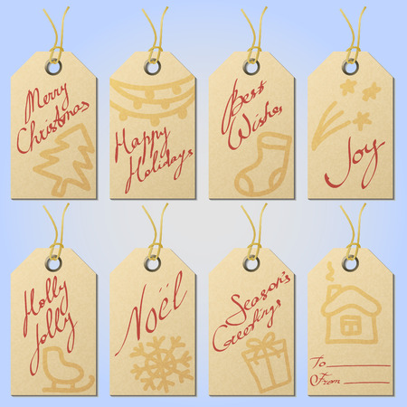 twine: Set of textured kraft paper christmas gift tags on twine eyelets with hand drawn holiday symbols and handwritten greetings, eps10 vector illustration Illustration