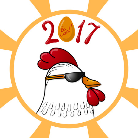 golden egg: Funny cartoon rooster character in sunglasses with a confident look and sign of New Year 2017, including golden egg with words Be Cool. Hand drawn eps10 vector illustration.