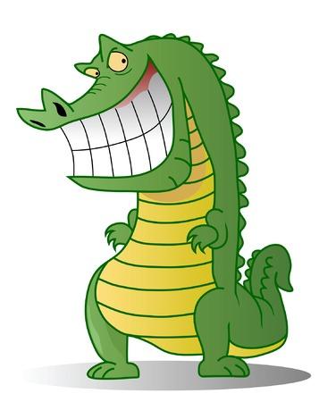 karikatuur: Een kwaadwillende krokodil geïsoleerd op de witte achtergrond
