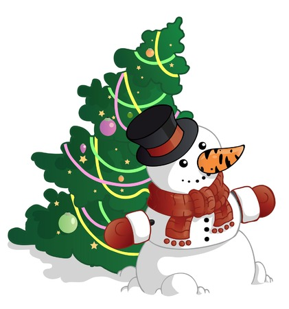 snowman and the christmas tree  Illustration