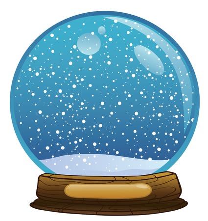 boule de neige: Zone de la nouvelle ann�e avec une chute de neige