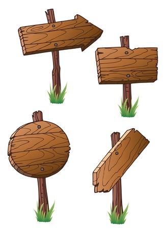 pancarte bois: ensemble de panneaux de signalisation routi�re en bois