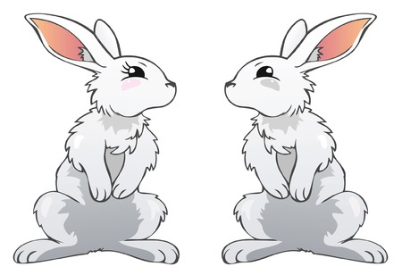 White cartoon rabbits Stock Vector - 8655569