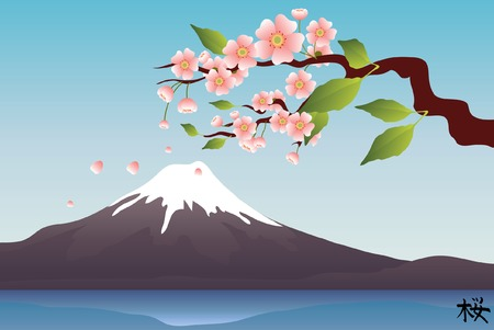 Sakura branches with the hieroglyph sakura  Vector