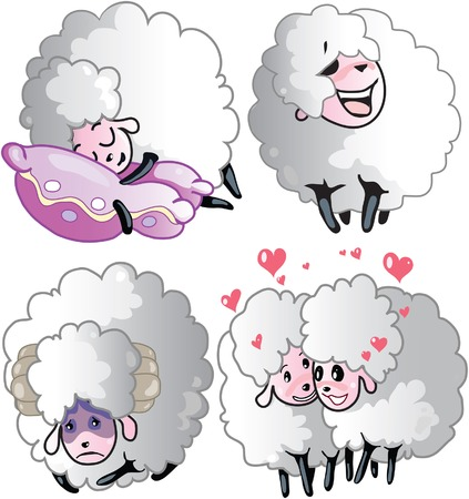 Sheeps on a white background Stock Vector - 8655606