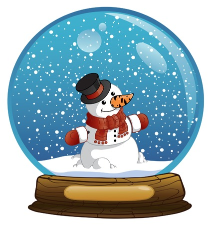 New Years sphere with the snowman  Illustration