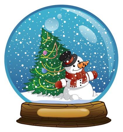 boule de neige: Sphère du nouvel an avec le bonhomme de neige  Illustration