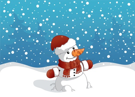 Snowman with red christmas hat Illustration