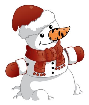 bolas de nieve: mu�eco de nieve con red hat de Navidad y mitones  Vectores