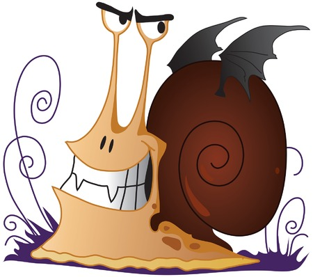 Spiteful snail the vampire with wings Stock Vector - 8655596