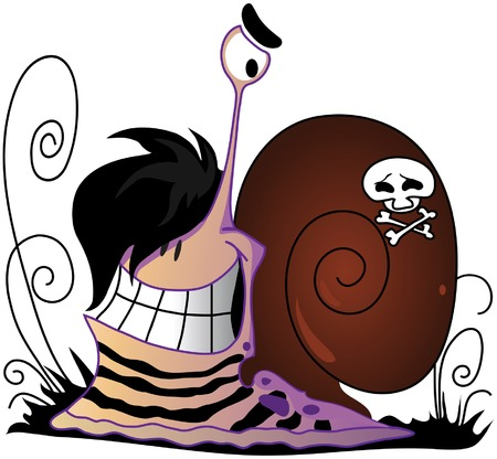 Nice emo a snail with a skull on a cockleshell Stock Vector - 8655600
