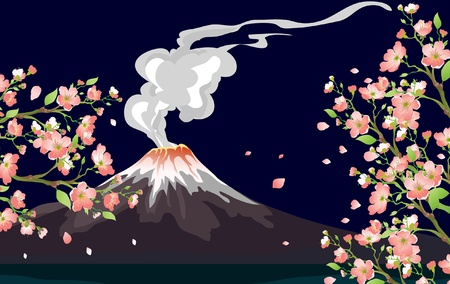 volcanic landscape: A Vector illustration of an erupting Volcano