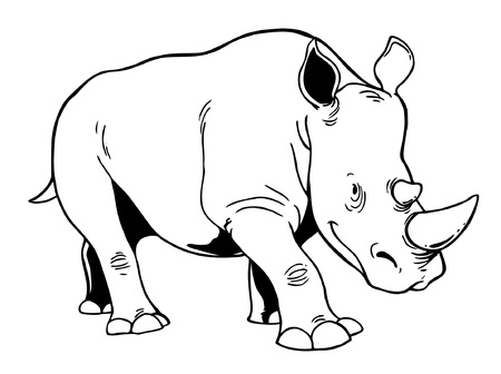 herbivore: White Rhinoceros Illustration