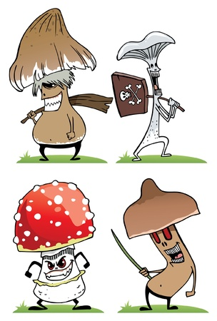 A set of different poisonous mushrooms in the grass Illustration