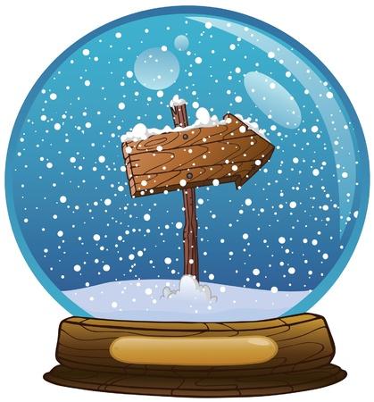boule de neige: Globe de neige avec panneau routier en bois