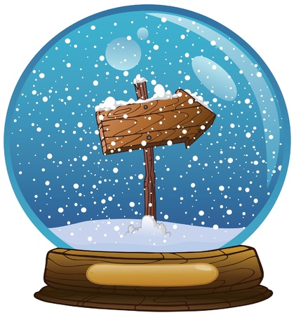 Snow globe  with wooden road sign Illustration