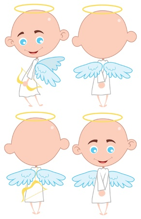 Set of isolated cute little angels Vector