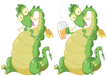 Illustration of isolated dragon on white background