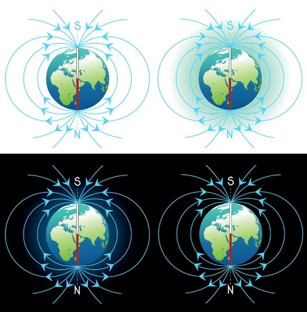 magnetic north: Magnetic field vector images collection
