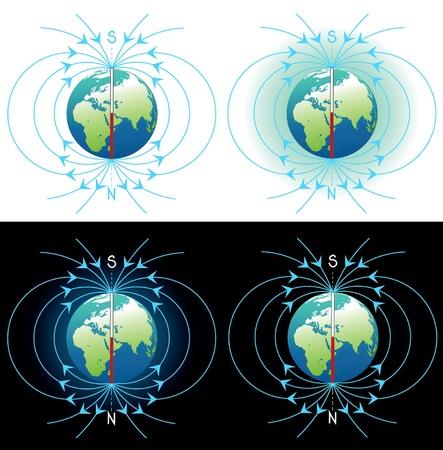 Vecteur du champ magnétique des images de collecte