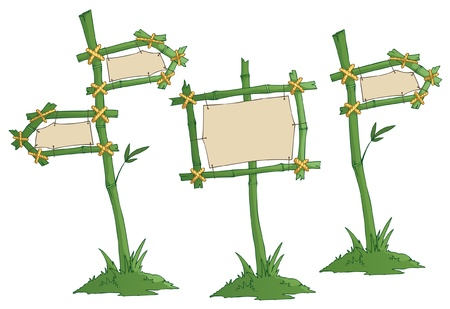 fence post: set of bamboo road signs