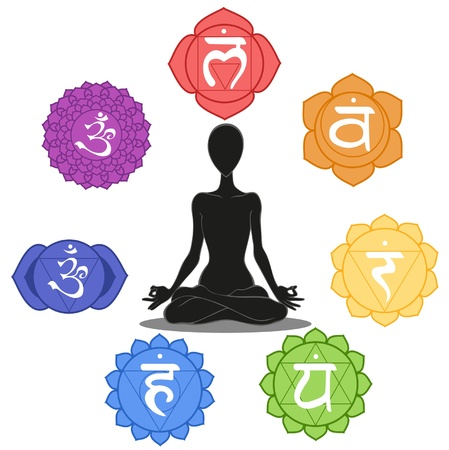 sahasrara: Man silhouette in yoga position with the symbols of seven chakras Illustration