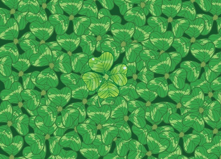 fourleafed: Background with clovers for St.Patrick`s day, vector illustration. one Happy Four-leafed clover